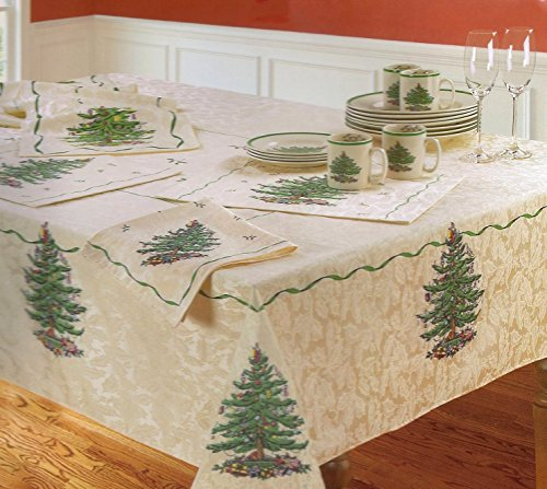 Spode Christmas Tree Fabric Tablecloth 70 Round Multi Color on Ivory - Spode Christmas Tree Fabric