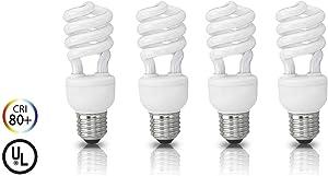 (4 Pack) Circle 23 Watt - 100 Watt CFL Cool White Light Bulb, CFL 4100K, Spiral Medium Base, CFL 100W Equivalent Light Bulbs, UL Listed