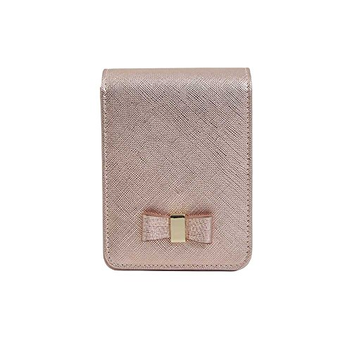 (Genuine Leather Cigarette & Lighter Case Cosmetic Pouch with Mirror Rose Gold)