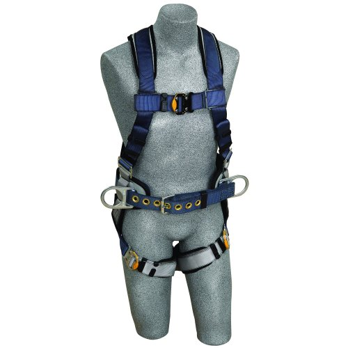 3M DBI-SALA ExoFit 1108501 Construction Harness, Back D-Ring, Sewn-In Back Pad & Belt w/Side D-Rings, Quick-Connect Buckles, Medium, Blue/Gray