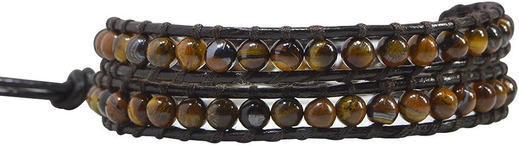 KELITCH Piedra del Zodíaco Piedra Semipreciosa Piedra Preciosa Abalorios Pulsera del Abrigo Cuero Pulsera