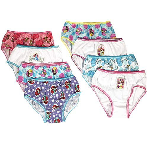 (Disney Princess Girls Panties Underwear - 8-Pack Toddler/Little Kid/Big Kid Size Briefs Ariel Cinderella Rapunzel)