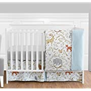 Blue, Grey and White Woodland Deer Fox Bear Animal Toile Girl or Boy Baby Bedding 4 Piece Crib Set Without Bumper