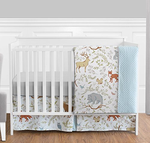 Blue, Grey and White Woodland Deer Fox Bear Animal Toile Girl or Boy Baby Bedding 4 Piece Crib Set Without Bumper (Vintage Sets Baby Crib Bedding)
