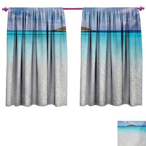Ocean Customized Curtains Paradise Beach in Caribbean Water with a Small Island Scene Dream Away Art Print Patterned Drape for Glass Door W84 x L72 Cream -