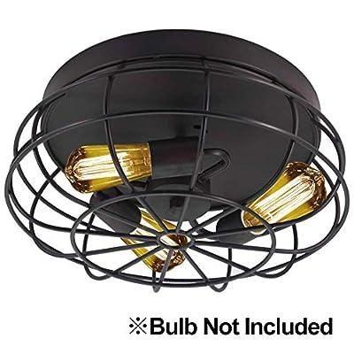 Semi Flush Mount Ceiling Light Fixtures,Industrial Rustic Metal Cage Kitchen Light Fixture for Hallway Bedroom Farmhouse