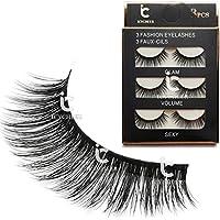 ICYCHEER 3 Pairs Long Cross False Eyelashes Makeup Natural 3D Thick Black Eye Lashes Icycheer Soft Lash …