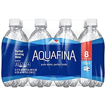 9fe95476f4 Amazon.com: Aquafina Purified Drinking Water (8 Count, 12 Fl Oz Each):  Prime Pantry