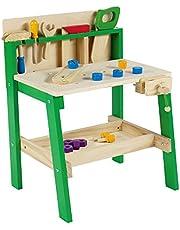 Leo & Emma - Kinderwerkbank met gereedschap van hout, groen gelakt, 30-delige werkbank voor kinderen van hout, houten bank voor kinderen - hoogwaardig gemaakt en gelakt