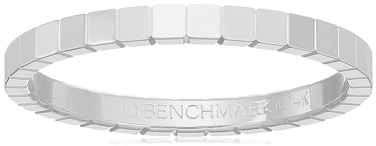 14k White Gold 2mm High-Polished Square Design Band Stackable Ring, Size 8