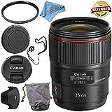 Canon EF 35mm f/1.4L II USM Lens 9523B002 + 72mm UV Filter + Fibercloth + Lens Capkeeper Bundle