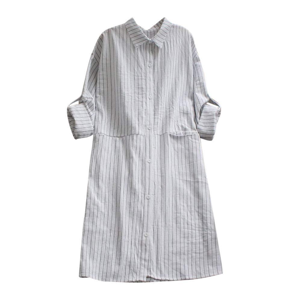 BOLUOYI Fashion Women Pockets Dress Long Sleeve Cotton Linen Striped Casual Dresses 2018-dresses 890