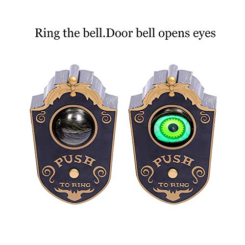 Unionm Halloween Props, Novelty One-Eyed Doorbell DIY Decoration Ghost's Day Glowing Voicing Hanging Scary Horrid Toys Haunted House Decoration for Home Door Window (Black)