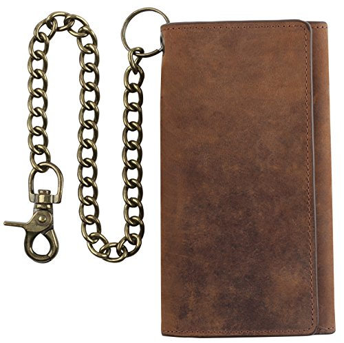 RFID Blocking Mens Tri-fold Long Style Cowhide crazy horse Leather Steel Chain - Holder Leather Wallet Bikers