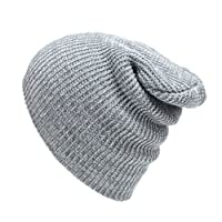 Abbyling68 Slouchy Winter Hats Knitted Beanie Caps Soft Warm Ski Hat Grey