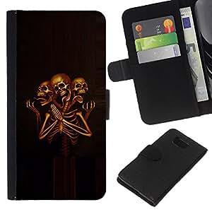 iBinBang / Flip Funda de Cuero Case Cover - Cráneo Esqueleto Muerte Grim Orar - Samsung ALPHA G850