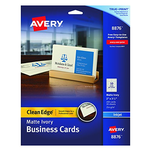 Avery Two-Side Printable Clean Edge Business Cards for Inkjet Printers, Matte, Ivory, Pack of 200 (Clean Edge Cards)
