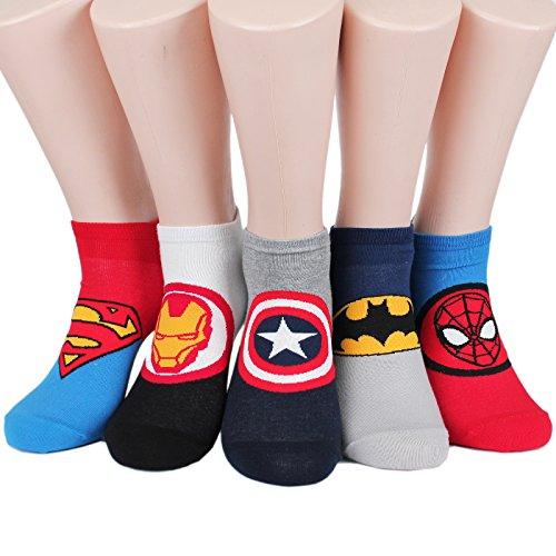 Socksense Superhero Mens Series Original Socks (Half_5pairs) (Captain America Boot Covers)
