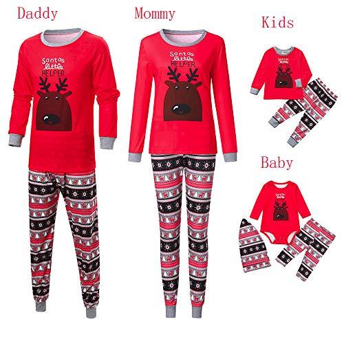 Seaintheson Christmas Family Pajamas Set Long Sleeve Deer