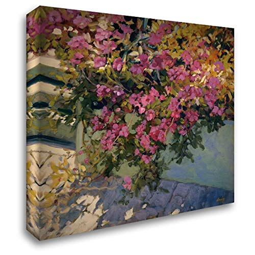 Steps and Summer Flowers 48x48 Extra Large Gallery Wrapped Stretched Canvas Art by Craig, Philip