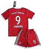 Gadzhinski2017 Lewandowski #9 Bayern Munich 2017-18 Kids/Youths Home Soccer Jersey & Shorts (11-13 Years Old)