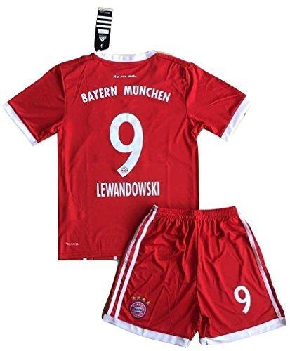 Lewandowski #9 Bayern Munich 2017-18 Kids/Youths Home Soccer Jersey & Shorts (7-8 Years Old) (Bayern Munchen Soccer)