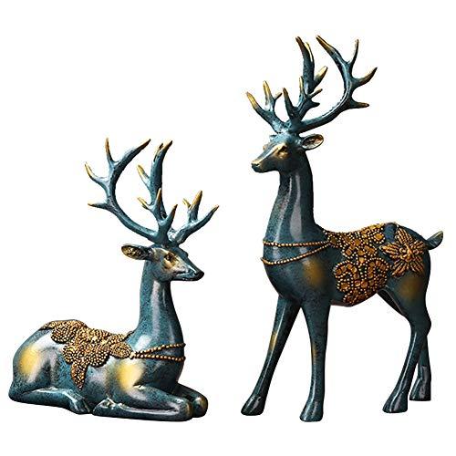 Olpchee 2Pcs Christmas Reindeer Resin Sculpture Individuality Deer Figurine Statue Home Office Decor Statues (Imitation ()