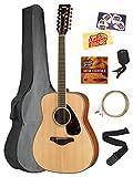Yamaha FG820-12 12-String Acoustic Guitar Bundle with Gig Bag, Tuner, Strap, Instructional DVD, Strings, Picks, and Polishing Cloth - Natural