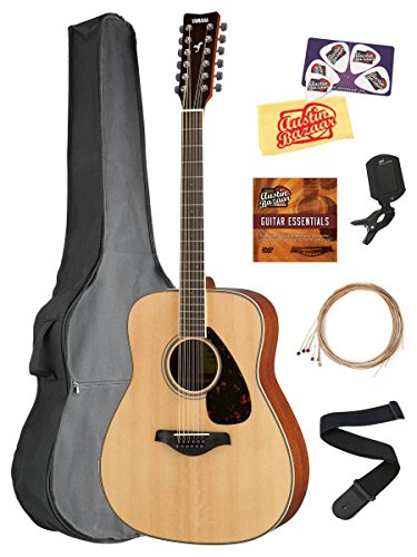 Yamaha FG820-12 12-String Solid Top Folk Acoustic Guitar - Natural Bundle with Gig Bag, Tuner, Strings, Strap, Picks, Austin Bazaar Instructional DVD, and Polishing Cloth