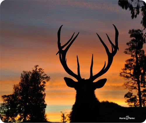 Deer Sunset Silhouette Thick Mouse product image