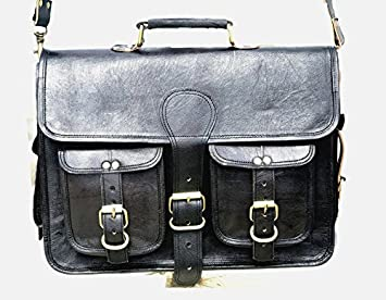 Black leather messenger bags for men women mens briefcase laptop bag best computer shoulder satchel school distressed bag
