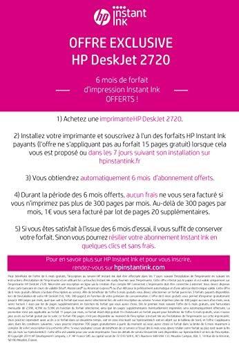 HP Deskjet 2720 Imprimante Tout-en-Un Jet d'Encre Couleur et Noir/Blanc (A4, Wifi, Bluetooth, HP Smart, Impression, Copie, Numérisation, 6 mois de forfait Instant Ink inclus avec l'imprimante)