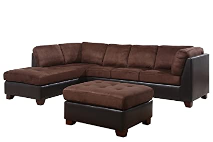 Abbyson® Santa Maria Sectional Sofa/Ottoman, Dark Brown