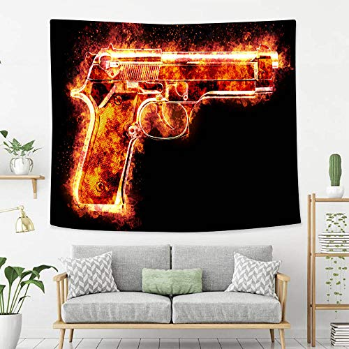 BEIVIVI Colorful Art Design Tapestry Automatic Pistol Burst in to Flames in Front of Black Background Wall Art Decoration for Bedroom Living Room Dorm, Window Curtain Picnic Mat
