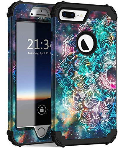 - iPhone 8 Plus Case, iPhone 7 Plus Case, Hocase Heavy Duty Shockproof Protection Hard Plastic+Silicone Rubber Hybrid Protective Case for iPhone 7 Plus/iPhone 8 Plus - Mandala in Galaxy (Renewed)