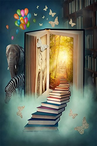 Leowefowa 3X5FT Fairytale Castle Backdrop Happy Birthday Balloons Magic Books Steps Elephant Zebra Butterfly Forest Trees Sunshine Fantasy Vinyl Photography Background Baby Princess Photo Studio Prop
