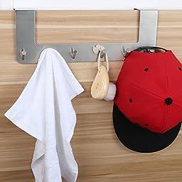 Heavy Duty Over The Door 6 Hooks Rack Organizer, Brushed Nickel