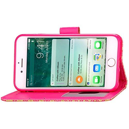Trumpshop Smartphone Carcasa Funda Protección para Apple iPhone 7 4.7 (Serie Leopardo) + Azul + PU Cuero Caja Protector Billetera con Cierre magnético la Ranura la Tarjeta Choque Absorción Rojo