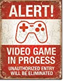 Video Game in Progress Tin Sign 13 x 16in by Desperate Enterprise