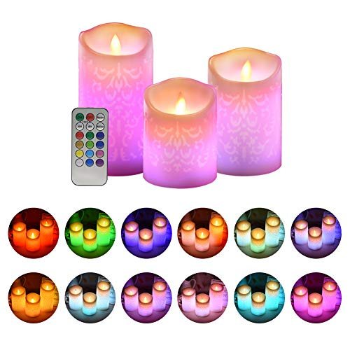 ACROSS Flickering Flameless Candles, Set of 3 Real Wax Color Changing LED Pillar Candles Battery Operated Realistic 3D Dancing Flame Fake Candles with 18-Key Remote Control for Birthday Wedding Party