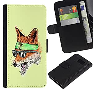 LASTONE PHONE CASE / Lujo Billetera de Cuero Caso del tirón Titular de la tarjeta Flip Carcasa Funda para Samsung Galaxy S6 SM-G920 / The Foxy Hipster Fox