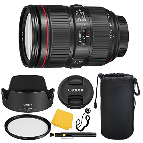 Canon EF 24-105mm f/4L IS II USM Lens + UV Filter + Lens Cleaning Pen + Lens Cap Keeper + Cleaning Cloth - 24-105mm II IS: Ultrasonics Motor - International Version