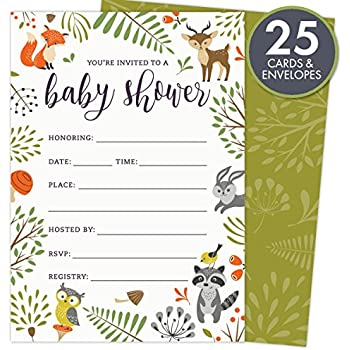 woodland baby shower invitations with owl and forest animals set of 25 fillin style blank cards and envelopes unisex design suitable for boy or girl