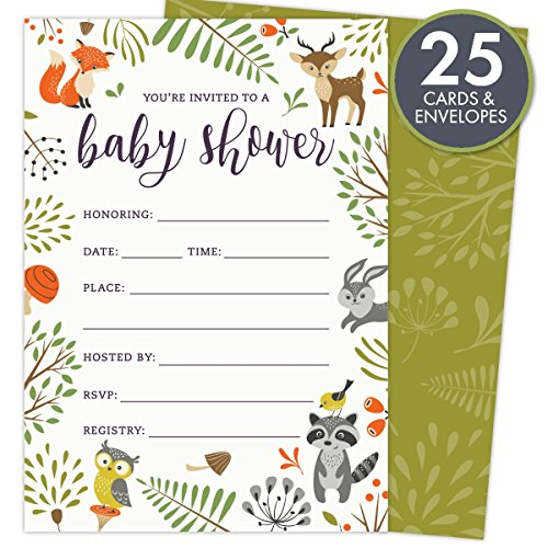 woodland-baby-shower-invitations-with-owl-and-forest-animals-set-of-25-fill-in-style-blank-cards-and