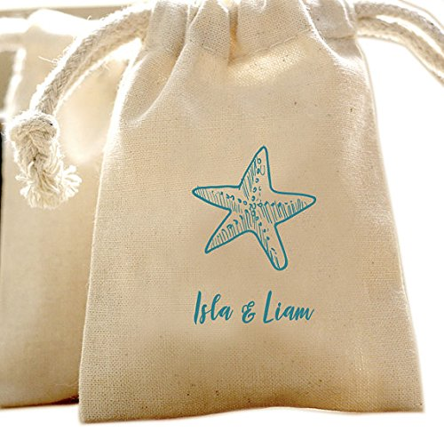 Beach Wedding Starfish Muslin Favor Bags
