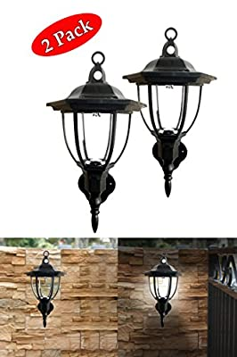 Solar Powered Wall Lamp- Set of 2- Motion Activated Security Lights- Wireless Outdoor Lantern- Beautiful Light Fixture- Garden Décor Accent Lighting- Best for Patio, Pool, Yard, Deck (Black)