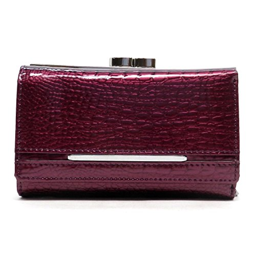 Kiss Lock Wallet (Genuine Leather Croc Pattern Multi Wallet Trifold Womens Organizer Wallet (AW093SC) (Purple))