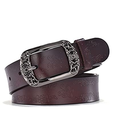 TUNGHO Vintage Genuine Leather Belts for Women with Embossed Pin Buckle for Western Cowgirl Jeans Dresses Pants Plus Size