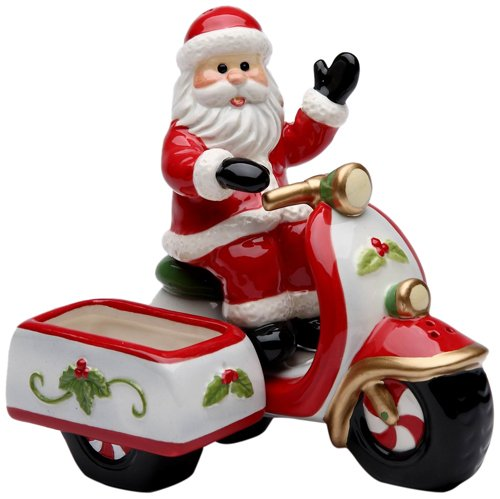 Cosmos Gifts 10665 Santa Riding a Scooter Salt and Pepper Set with Sugar Pack Holder, 4-1/2-Inch