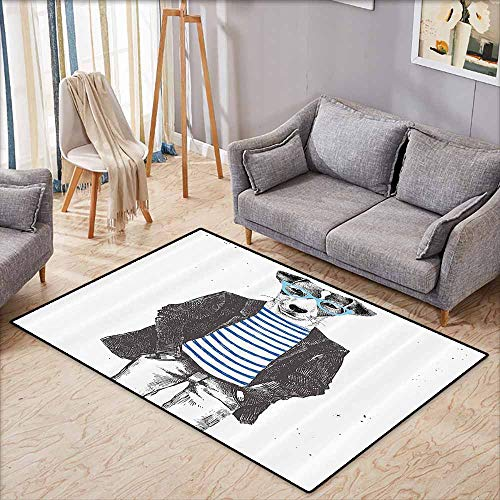 Girl Bedroom Rug Quirky Dressed Up Hipster Dog with Glasses Hand Drawn Sketchy Fashion Animal Fun Black White Blue Easy to Clean W5'2 xL3'2]()